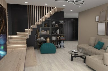 residential interior visualization, 3D illustration