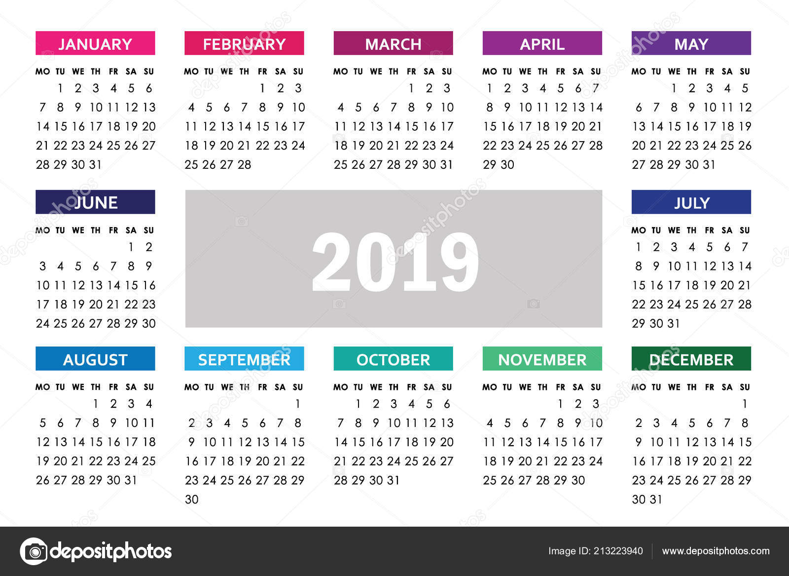 Simple calendar for 2019 year  Week starts monday — Stock Vector