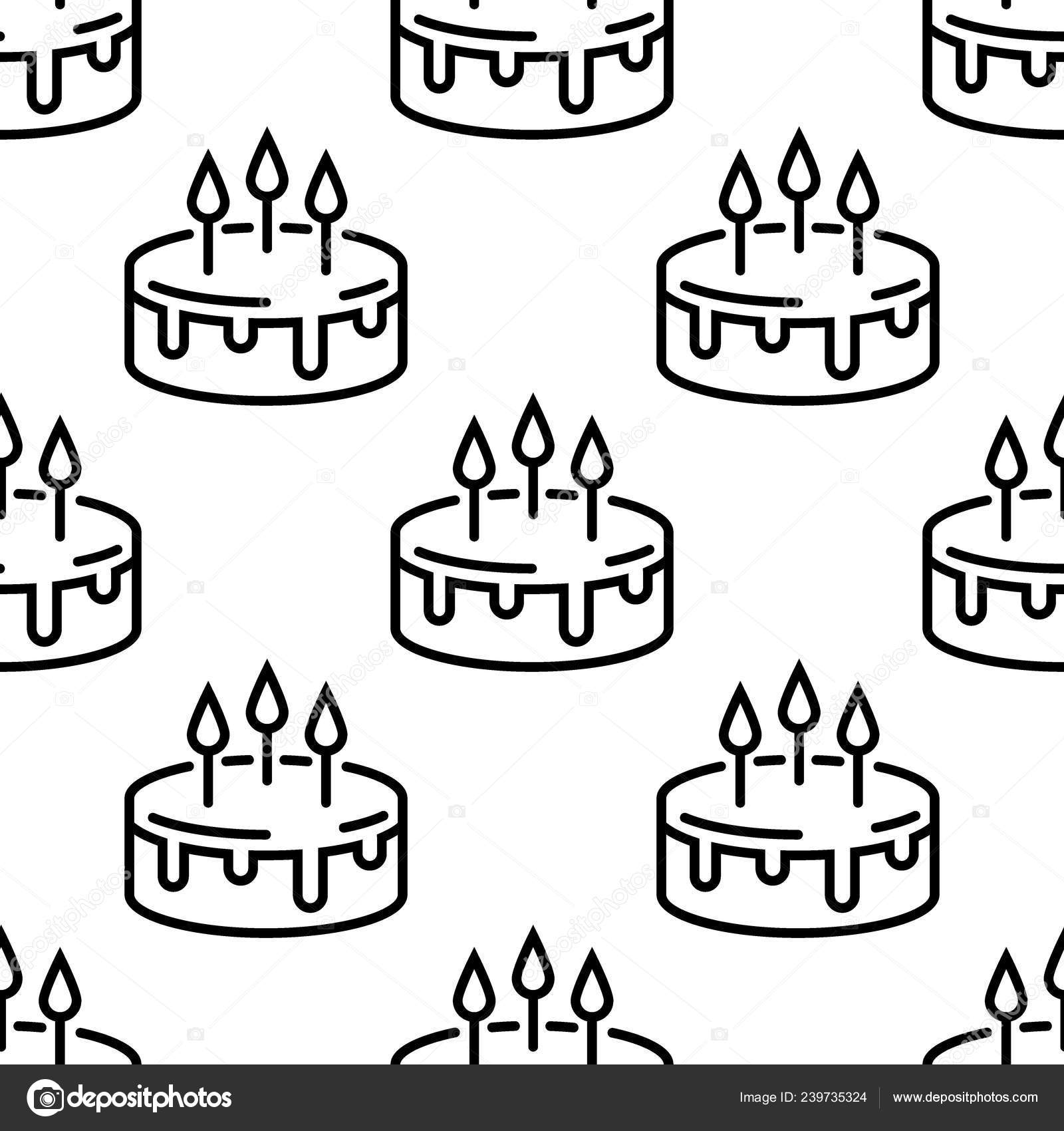 Seamless Birthday Cake Pattern Line Cakes On A White Background Stock Vector