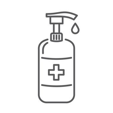 Vector sanitizer icon. Antibacterial soap bottle. Vector illustration. 10 eps icon