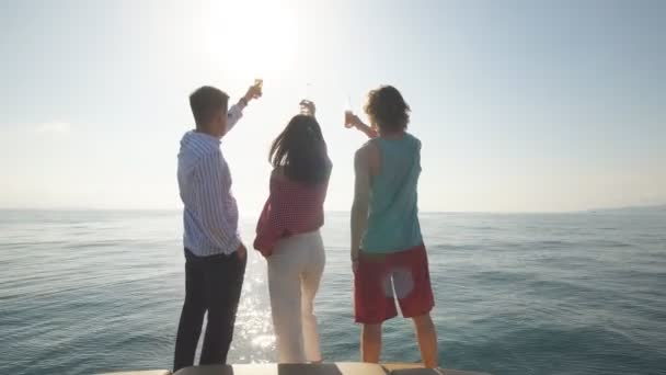 Friends Beach Party Drinks Toast Celebration Concept on sea