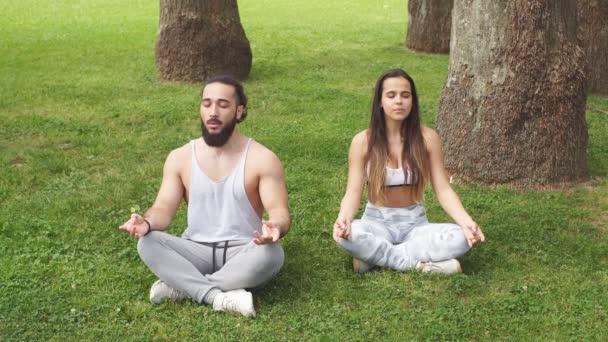 Fiatal pár jógázik a szabadban
