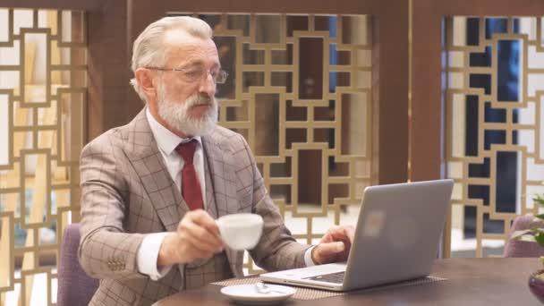 eldely männlichen erfolgreichen Wissenschaftler in formalen grauen Anzug gekleidet, arbeitet am Laptop, sucht wichtige Details der Arbeit, hat selbstbewusste ernste Miene, sitzt am Café-Tisch mit cuo Kaffee