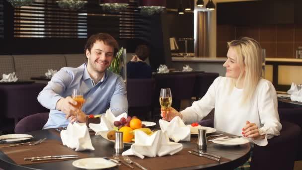 Loving couple enjoying the dinner