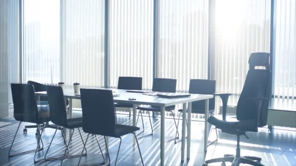 Beautiful view of meeting room in modern office with panoramic windows