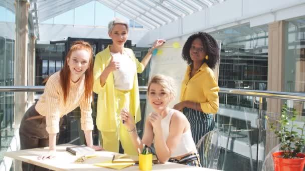 Beautiful diverse female members of international business company