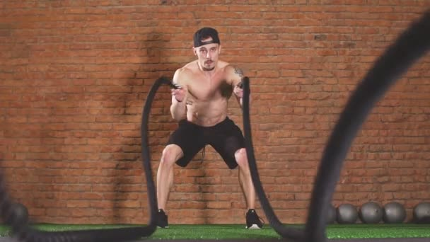 Bodybuilder Practice Effective Way To Burn Calories Battle Rope Training In Gym Slow Motion
