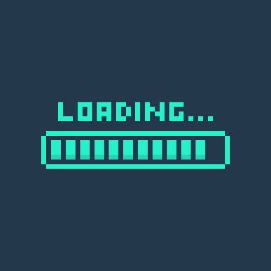 Pixel art 8-bit cyber futuristic loading bar - isolated vector illustration
