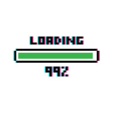 Pixel art 8-bit Loading bar 99 percent with glitch effect - isolated vector illustration