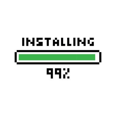 Pixel art 8-bit Installing green loading bar with loading status 99 percent - isolated vector illustration