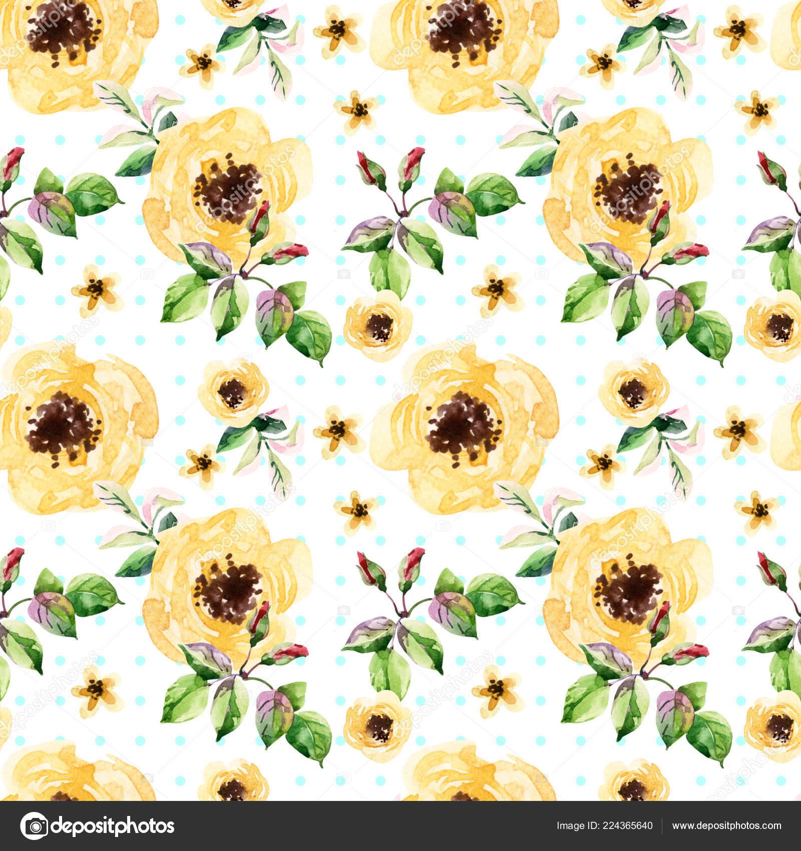 pale yellow flowers polka dot background watercolor meadow herbs leaves stock photo c tetiana syrytsyna 224365640 https depositphotos com 224365640 stock photo pale yellow flowers polka dot html