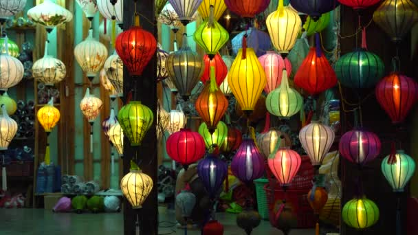 Beautiful lantern in Hoi An old town. Royalty high-quality stock footage of very much lantern for sale and decoration in Hoi An. Hoi An, once known as Faifo and noted as a UNESCO World Heritage Site