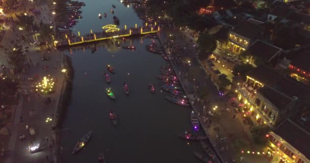 Aerial view of Hoi An old town or Hoian ancient town. Royalty high-quality free stock video footage top view of Hoai river and boat traffic Hoi An. Hoi An is one of the most popular destination  travel in asia