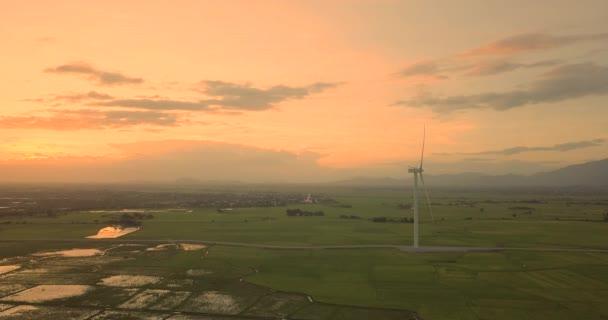 Azienda agricola di turbine di vento, mulino a vento in una giornata estiva. Turbina di vento di alta qualità filmati darchivio o mulino a vento in un campo verde - produzione di energia con energia pulita e rinnovabile, pulita al concetto di energia