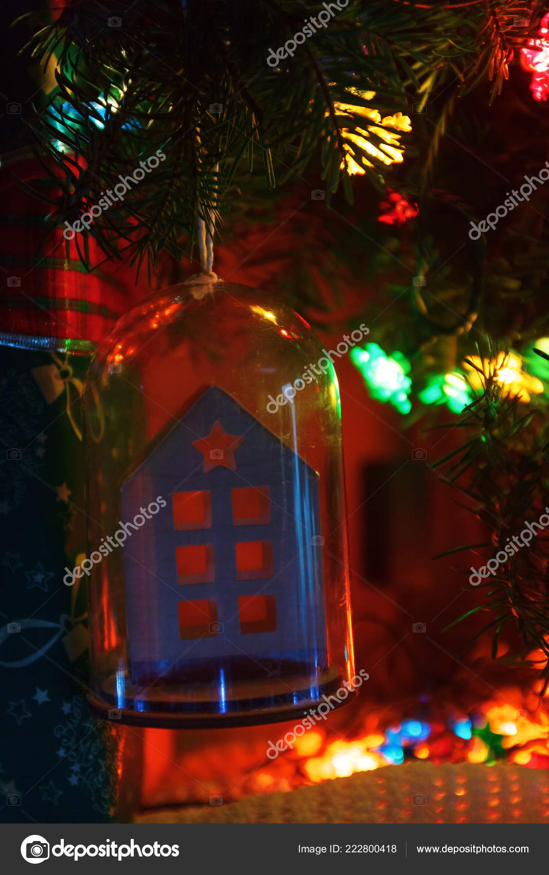 Colorful Christmas Lights On House.Tree Toy Shape House Star Angel Christmas Tree Colored