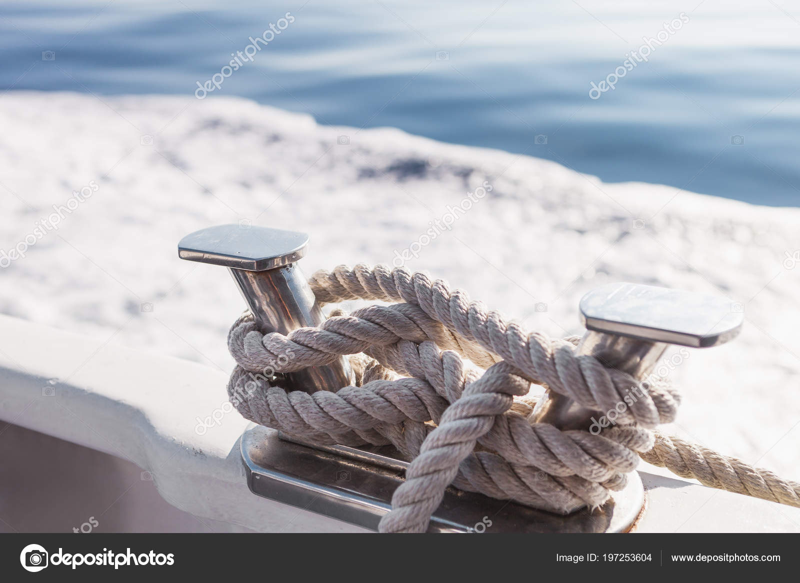 Ship Ropes Yacht Ligurian Sea Italy Close Mooring Rope