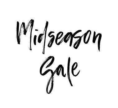 Midseason sale brush lettering. For greeting cards, banners, autumn season phrase for posters design. Handwritten modern brush pen calligraphy. Vector illustration stock vector.