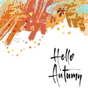 Hello Autumn brush lettering. Fall greting cards, banners, autumn season phrase for posters design. Handwritten modern brush pen calligraphy. Vector illustration stock vector.