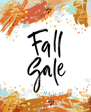 Fall sale brush lettering. For greeting cards, banners, autumn season phrase for posters design. Handwritten modern brush pen calligraphy and autumn leaves background. Vector illustration stock vector.