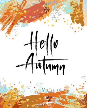 Hello Autumn brush lettering.