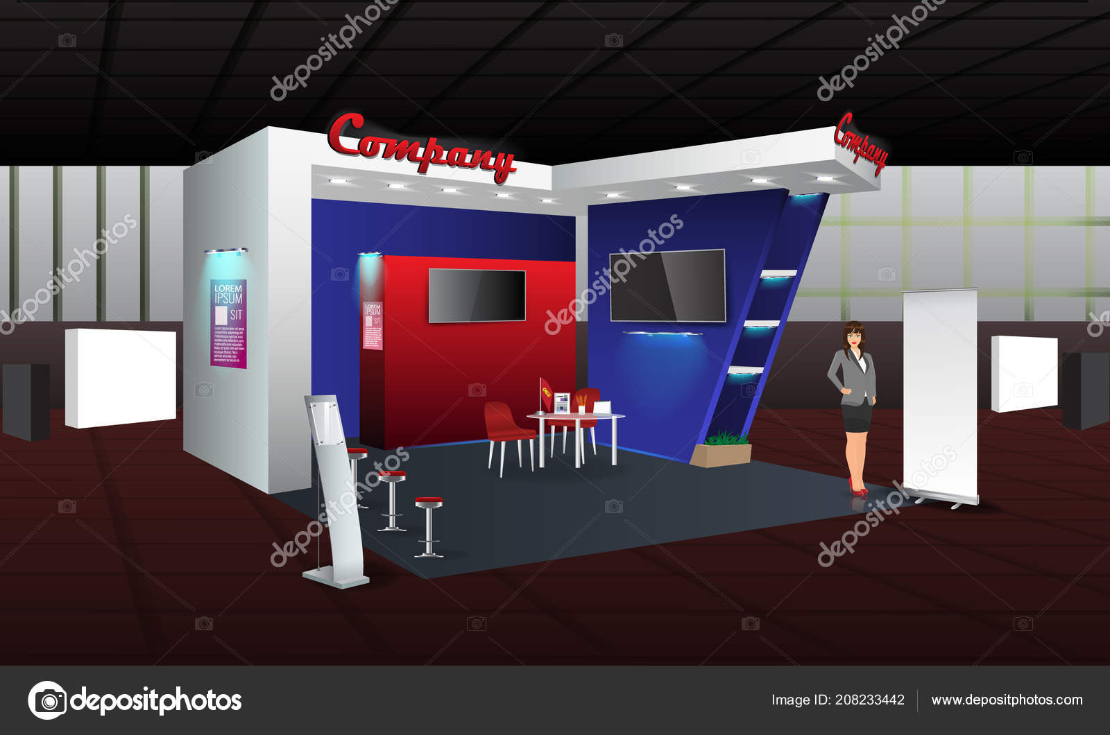 Trade Exhibition Stand Vector : Exhibition stand display design with info board roll up vector