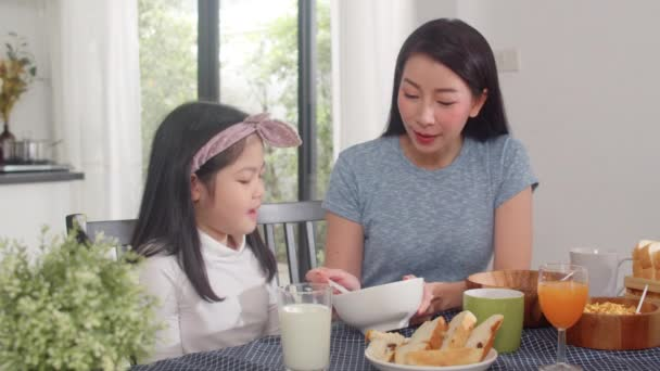 Asian Japanese Family Has Breakfast Home Asian Mom Dad Daughter ⬇ Video by  © Tirachard Stock Footage #308347904