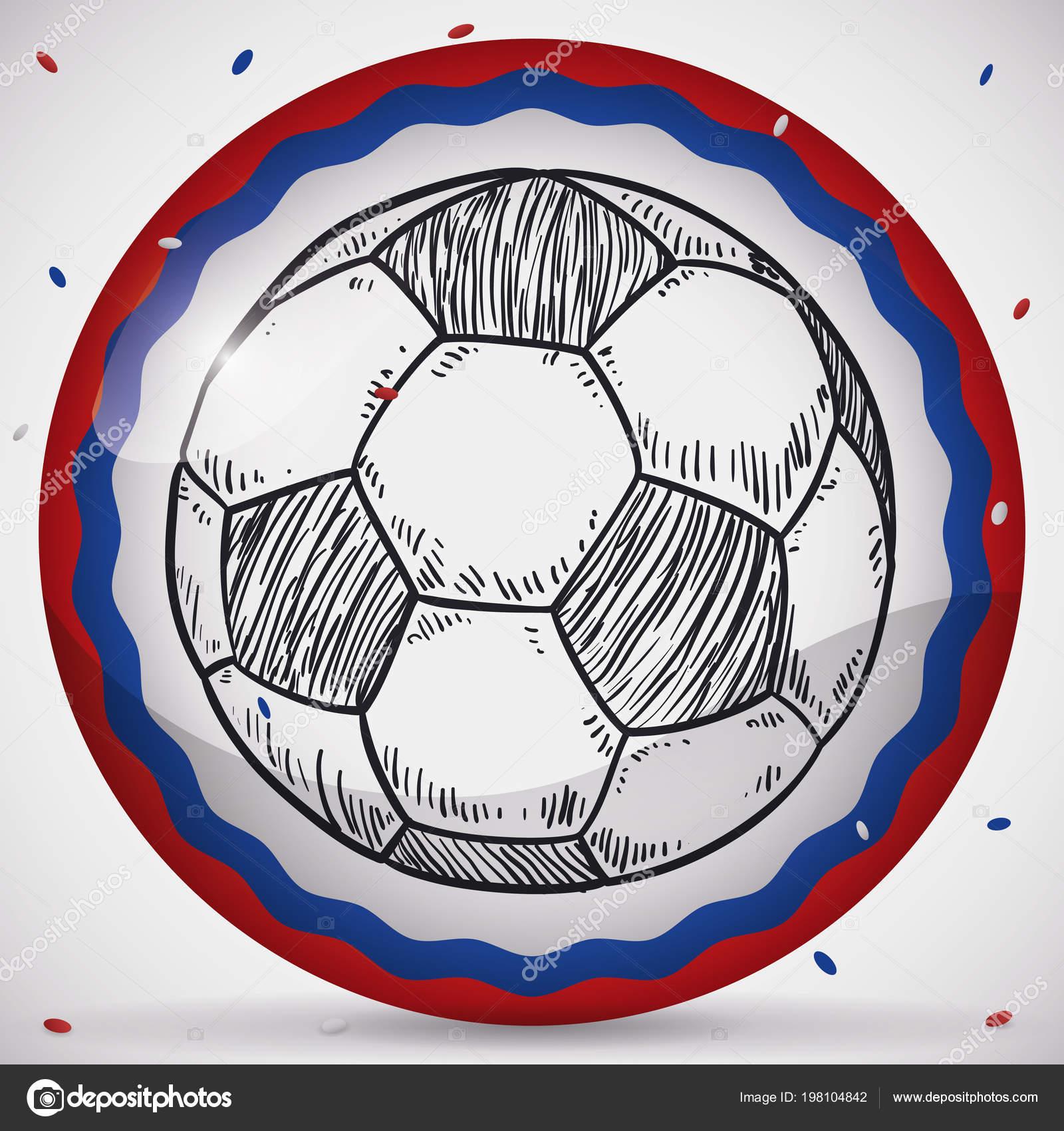 Botão Redondo Com Bola Futebol Mão Desenhada Estilo Sob Chuveiro — Vetores  de Stock c295a3a4cb6d0
