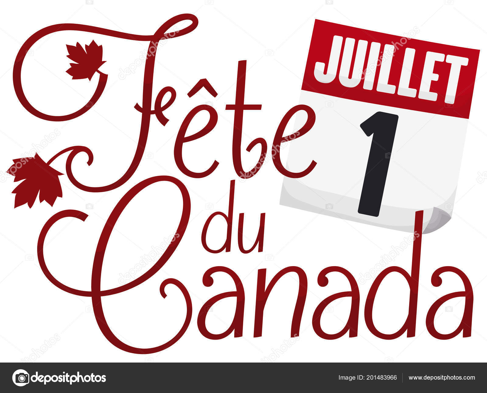 Commemorative Greetings Canada Day Written French Some Maple Leaves