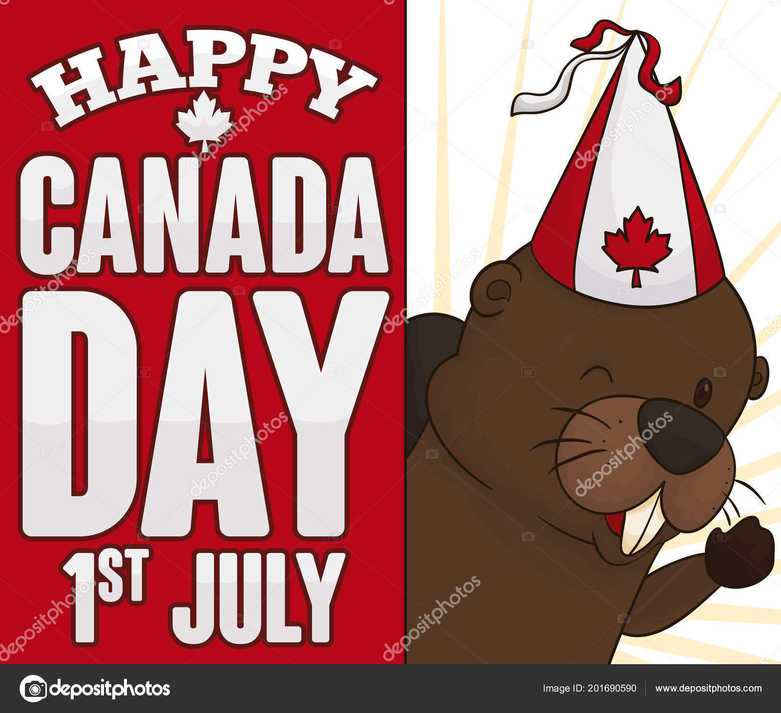 Poster Happy Beaver Wearing Party Hat Decorated Maple Leaf Greeting