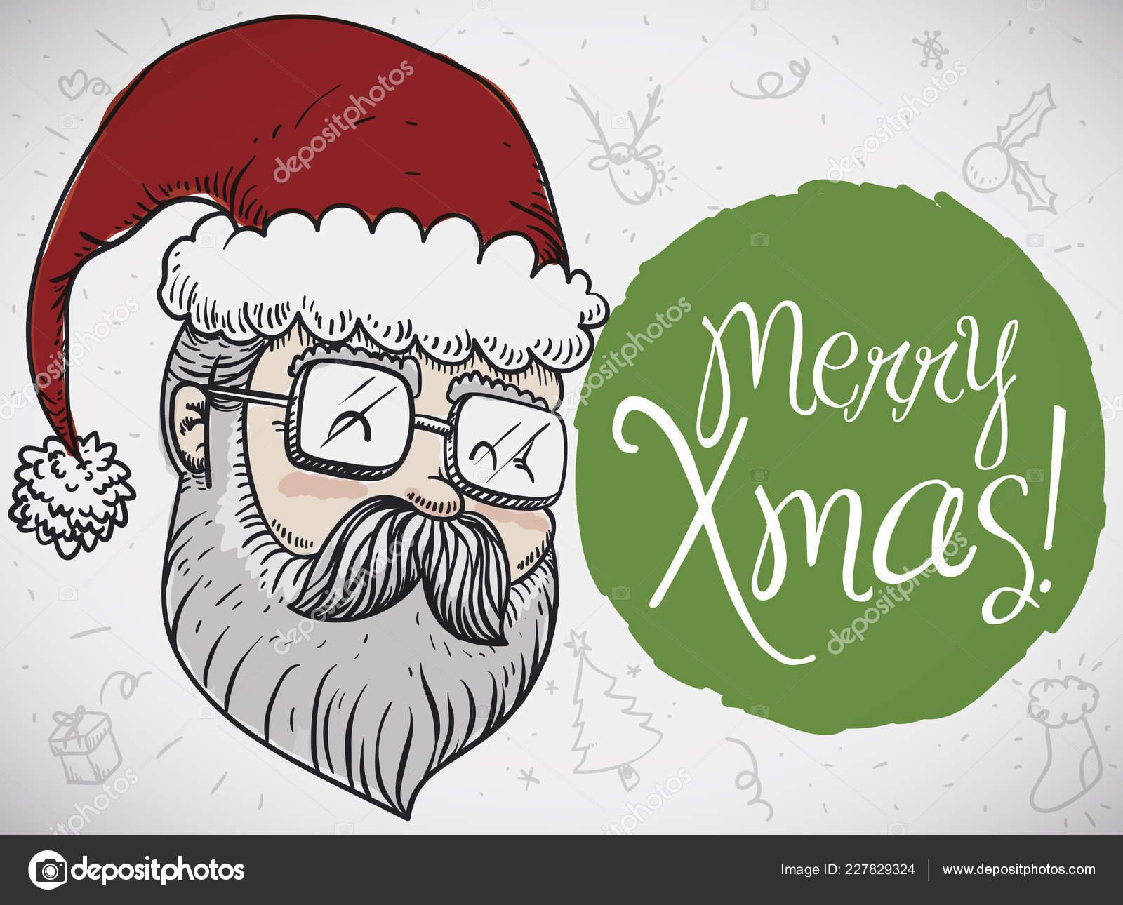Doodle Weihnachtsfeier.Moderne Santa Zeichnen Für Weihnachtsfeier Und Einige Traditionelle