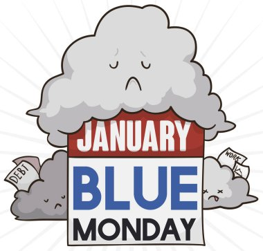 Sad clouds holding bills, a lot of work, low motivation and broken Christmas vows in January commemorating the Blue Monday.