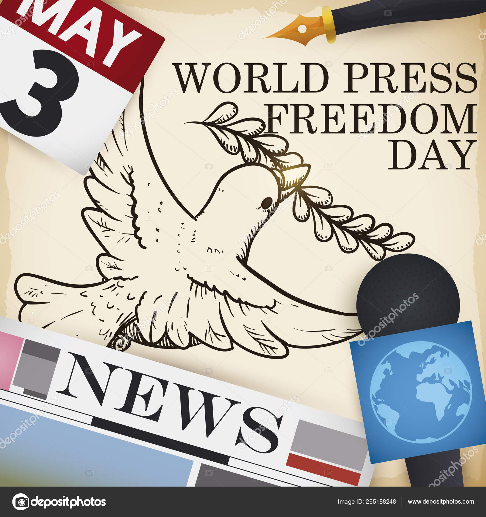 Dove Drawing and Media Elements for World Press Freedom Day