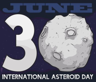 Space View with Date for International Asteroid Day, Vector Illustration