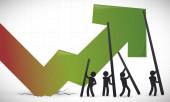 Fotografie Banner mit aufsteigendem Pfeil aus einem Krater, das die Teamarbeit und gemeinsame Bemühungen von Menschen und Wirtschaftssektoren zur Verbesserung der wirtschaftlichen Erholung nach der Krise darstellt.