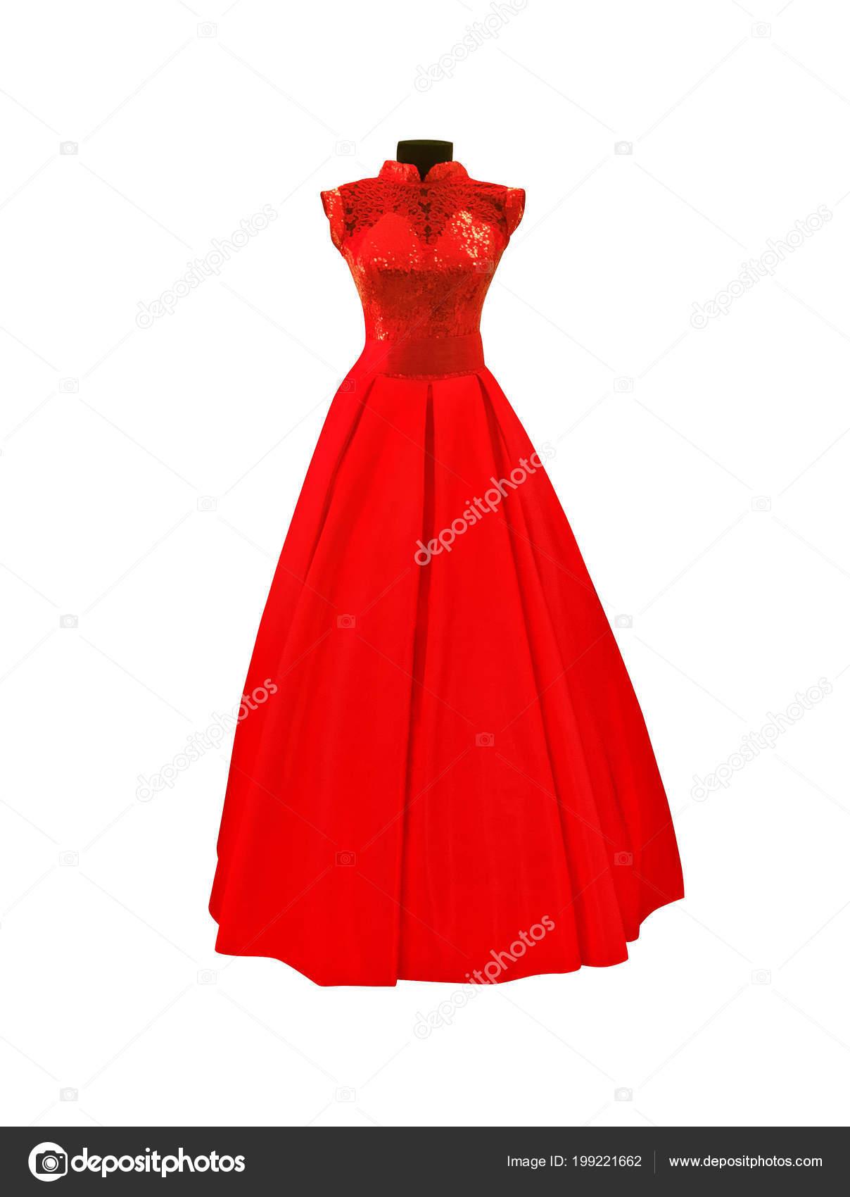 Vestido rojo de encaje para boda