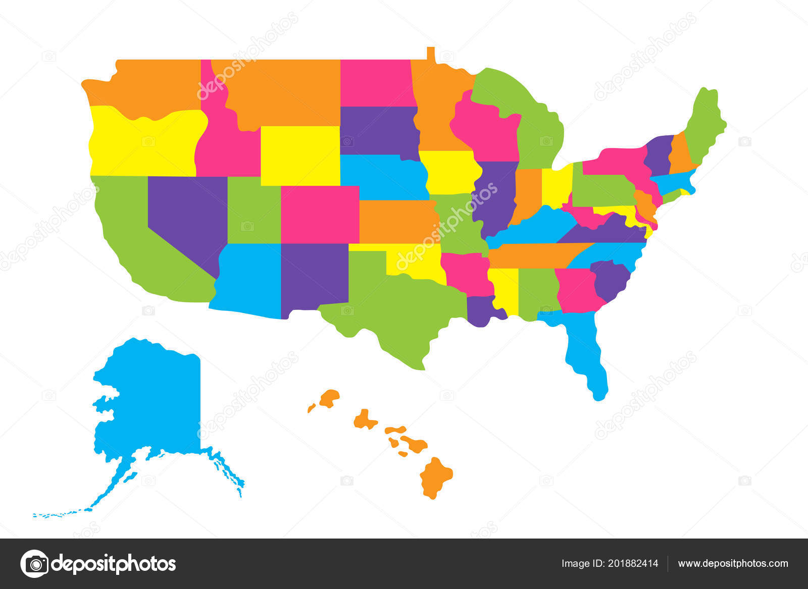 Map United States America Usa States Alaska Hawaii Color Vector ...