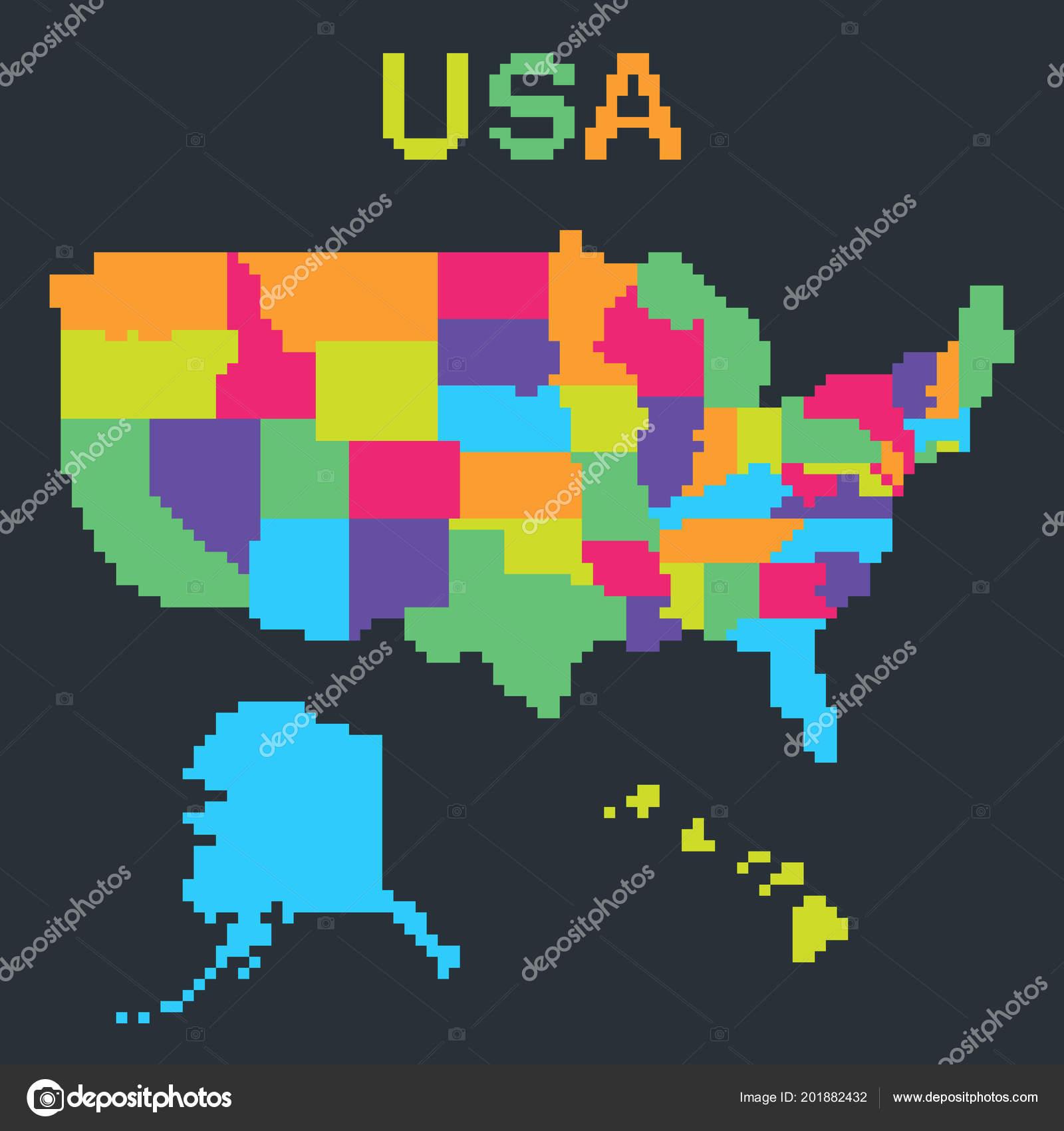 Map United States America Bit Pixel Art Style Alaska Hawaii Stock
