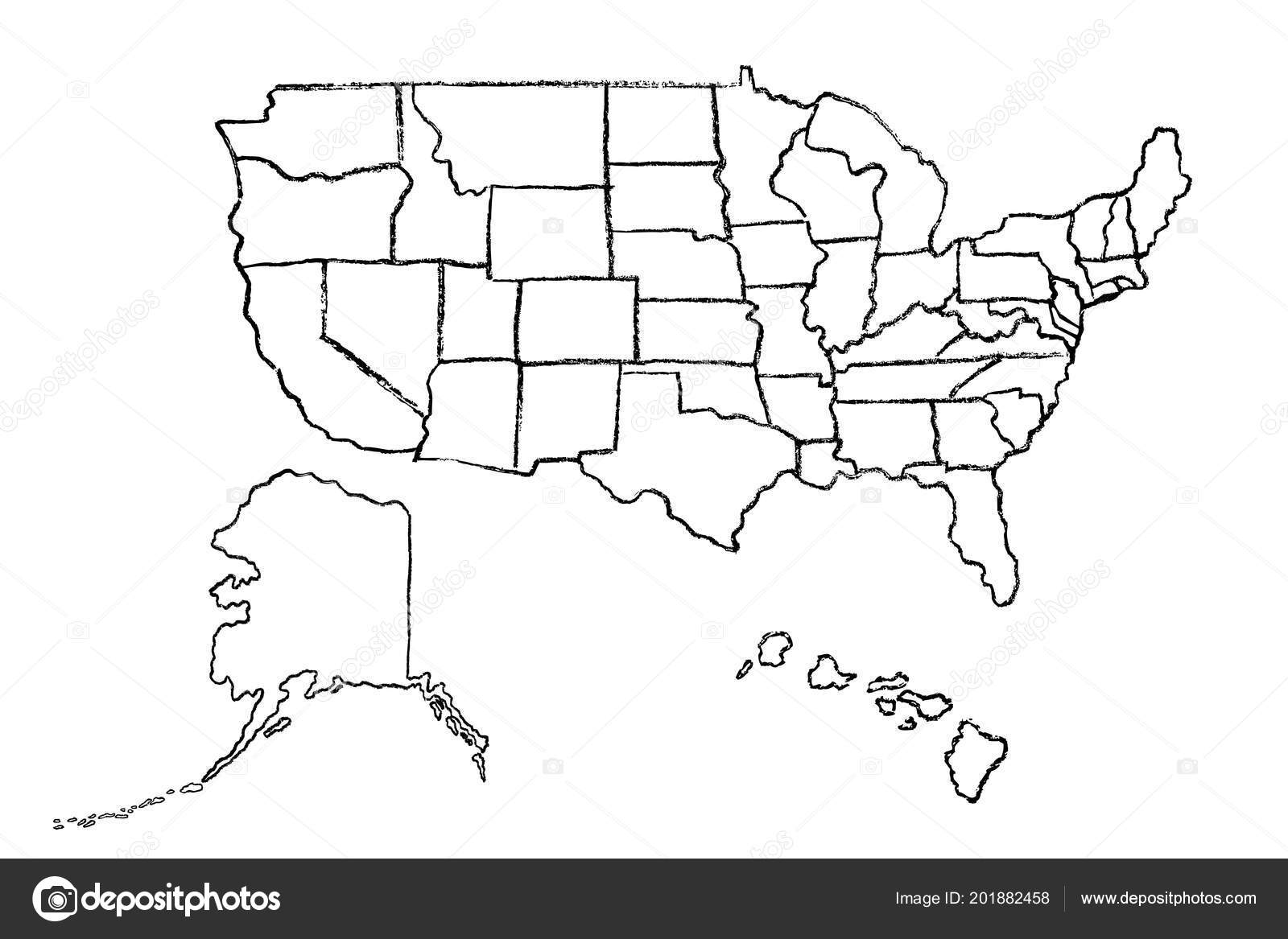 Hand Drawn Us Map.Hand Drawn Map United States America Usa States Alaska Hawaii