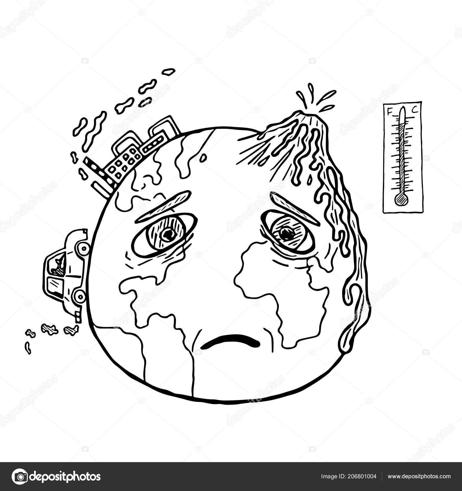 Planète Dessiné Main Terre Avec Visage Triste Réchauffement