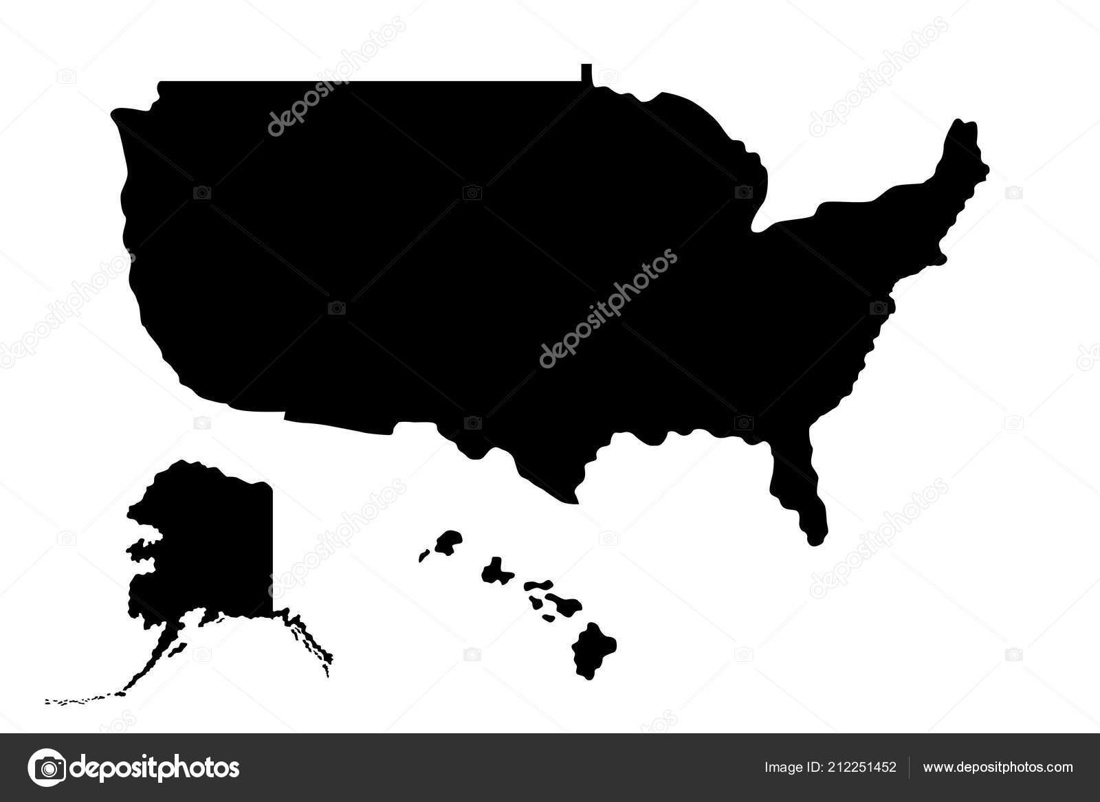 Amerika Karte Schwarz Weiß.Silhouette Der Karte Der Vereinigten Staaten Von Amerika Usa Mit