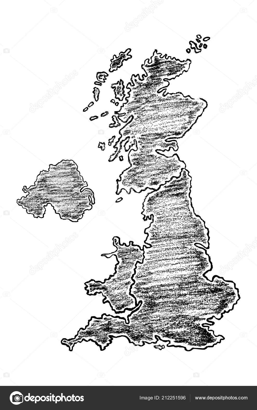 Carte Royaume Uni Noir Et Blanc.Main Sur Carte Royaume Uni Peint Avec Des Crayons