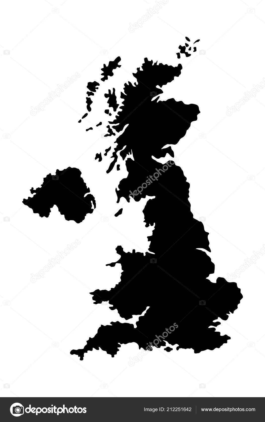 Silhouette United Kingdom Great Britain Map Black White Vector ... on mercia map, france map, england map, ireland map, british america map, scotland map, serbia and montenegro map, roman empire map, great britain on a map, united kingdom map, spain map, french revolutionary wars map,