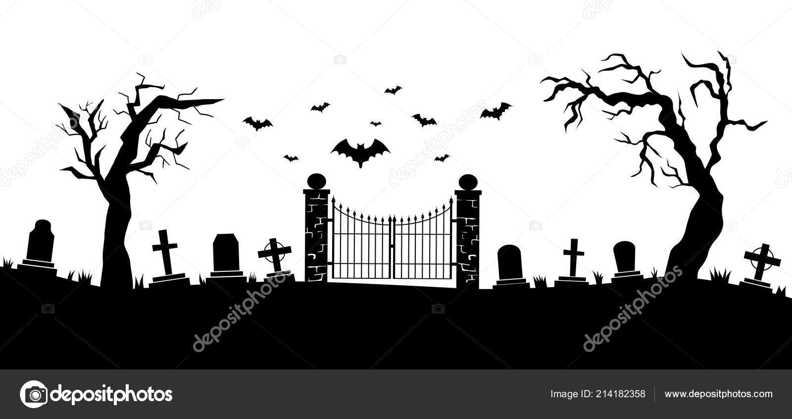 Halloween Vector Black And White.Panorama Cemetery Graveyard Silhouettes Gravestones Fence Trees Etc