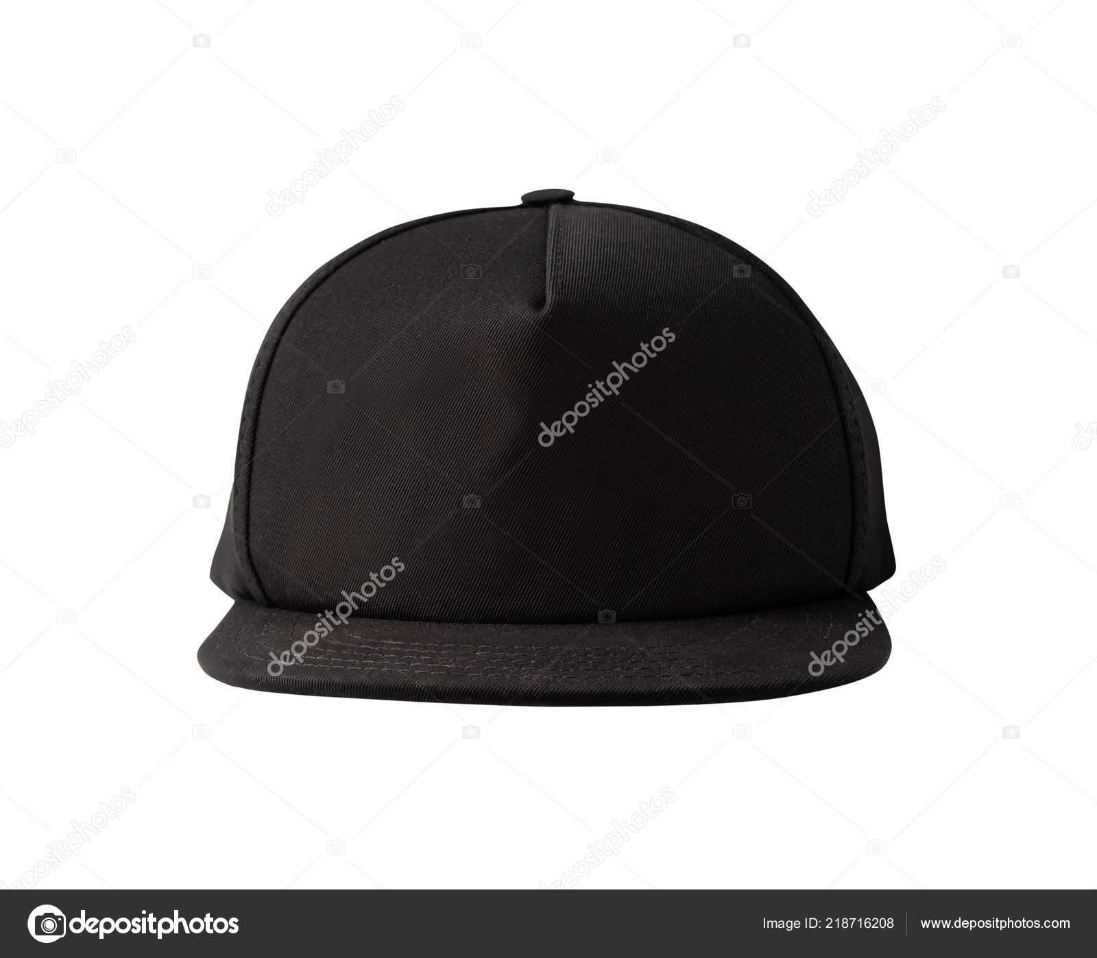 b8f412ba Front View Black Snapback Cap Isolated White Background Blank Baseball —  Stock Photo