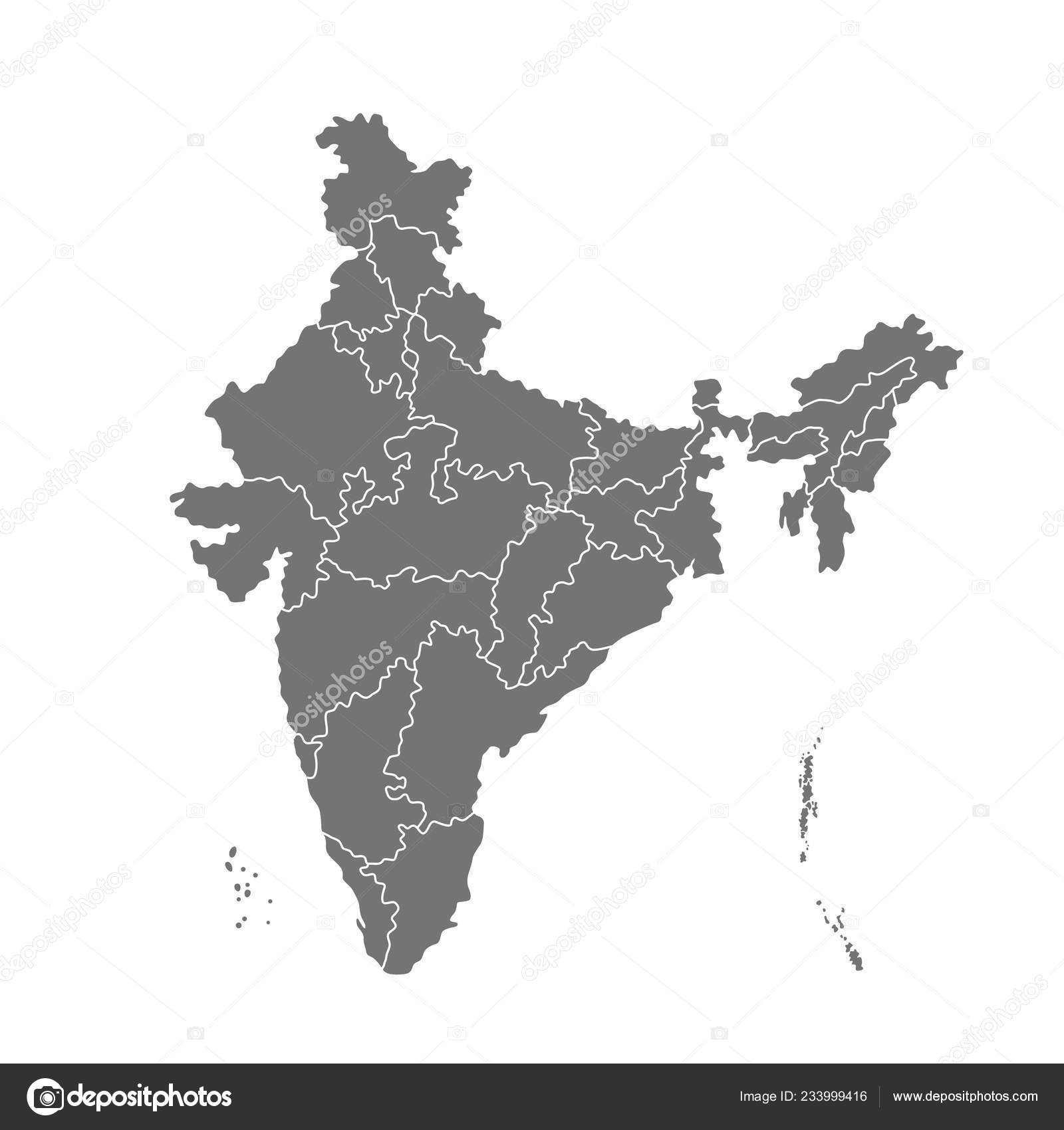Administrative Map India Vector Illustration Isolated White