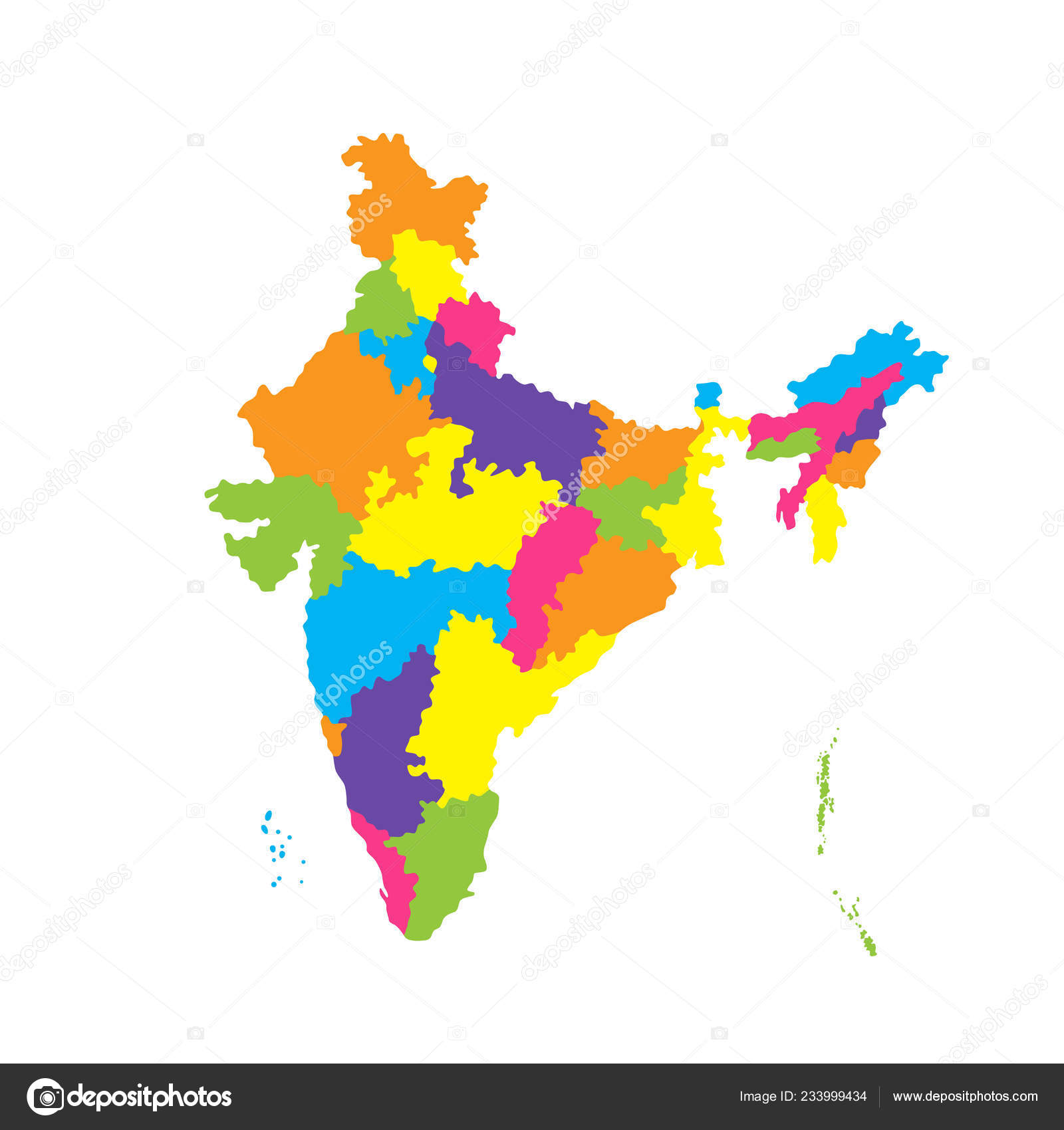 Administrative Map India Color Vector Illustration Isolated White