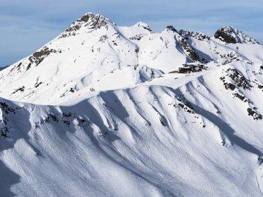 Panoramic view of Aibga mountain ridge in Rosa Khutor ski resort. Sochi, Russia. Nature background