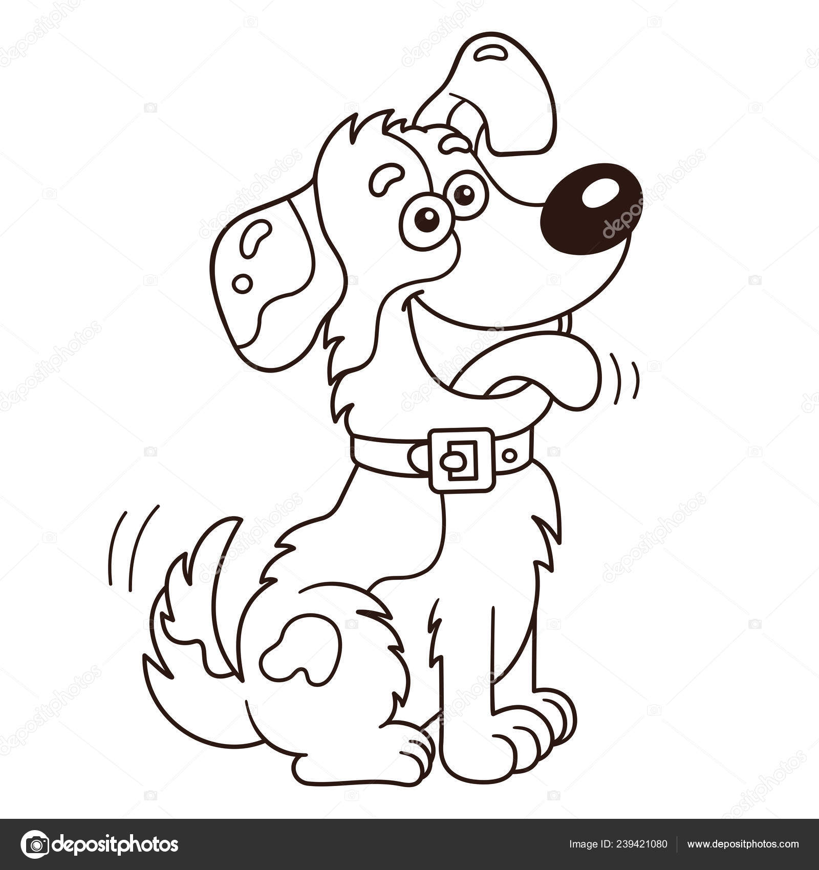 Coloring Page Outline Cartoon Dog Coloring Book Kids Stock