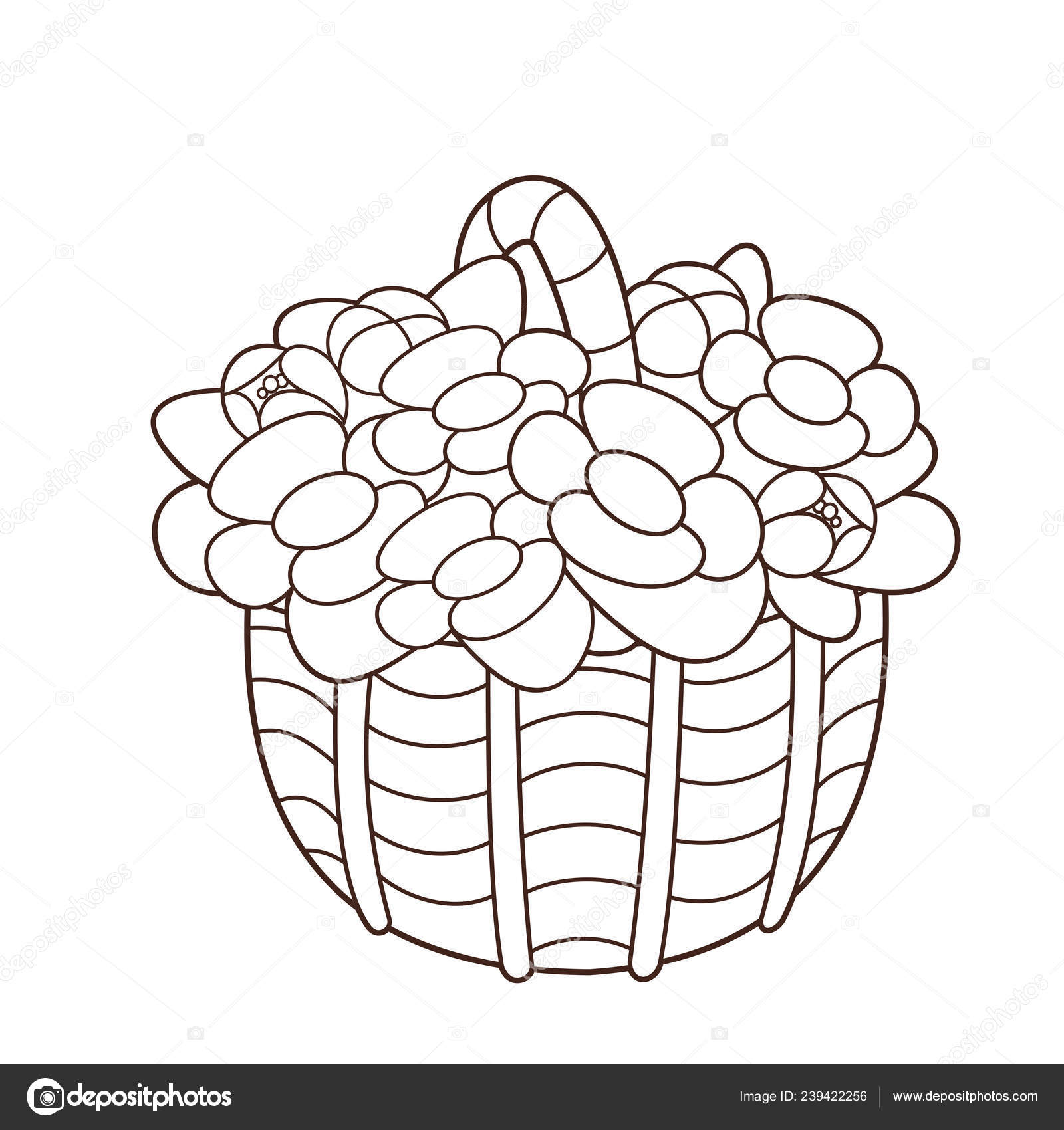 outline of flowers for colouring coloring page outline basket