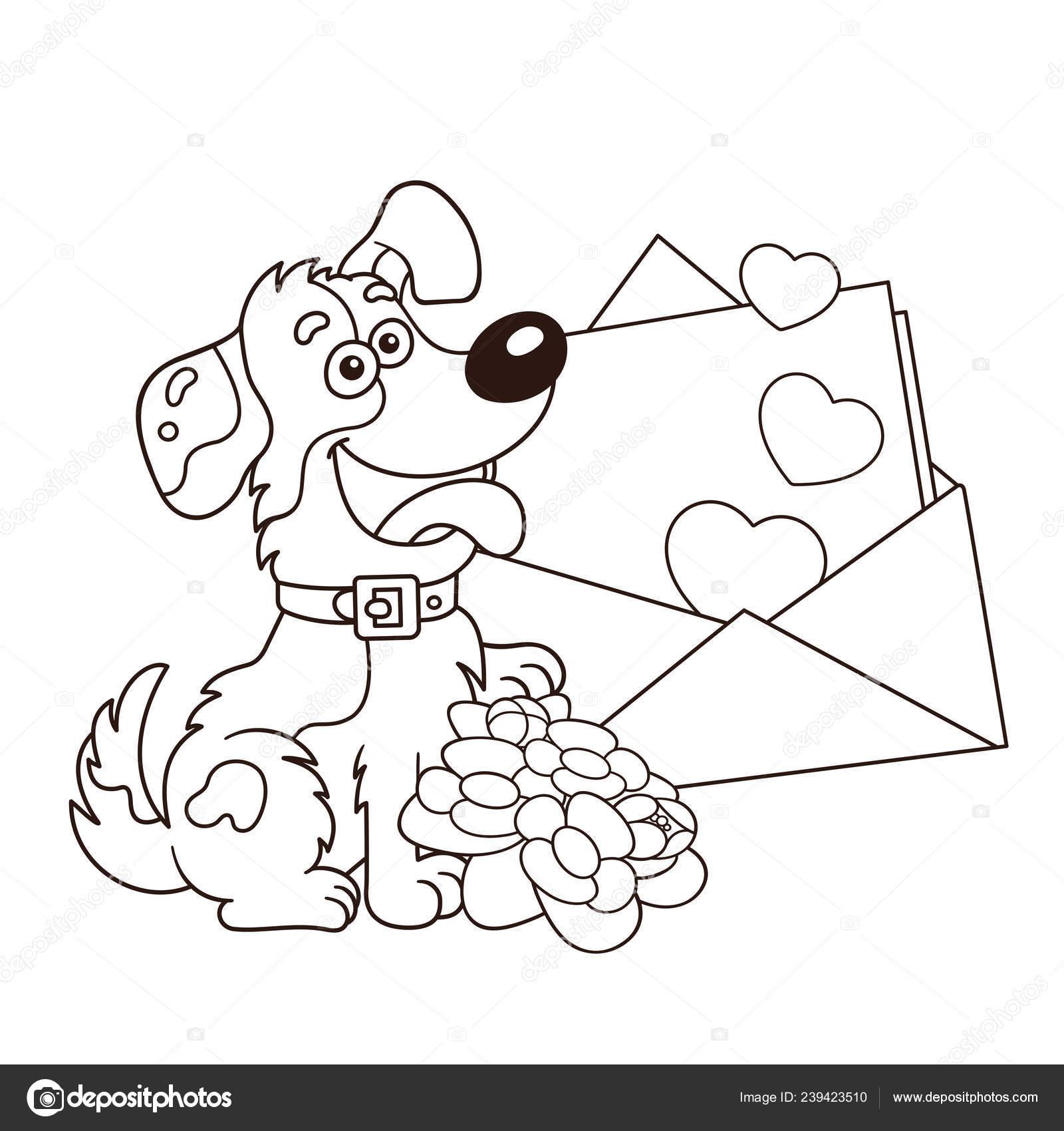 Disegni Colorare Pagina Muta Del Cane Del Fumetto Con Fiori